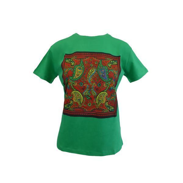 Tricou dama, Univers Fashion, verde, imprimeu etnic multicolor, M