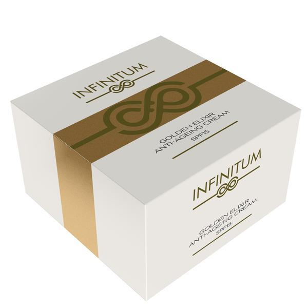 Crema Golden Elixir, INFINITUM, Anti-ageing, Acid Hyaluronic, aur 22K, SPF 15