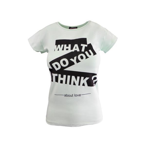Tricou dama, Univers Fashion, verde, imprimeu 'What do you think about love' – marime S-M