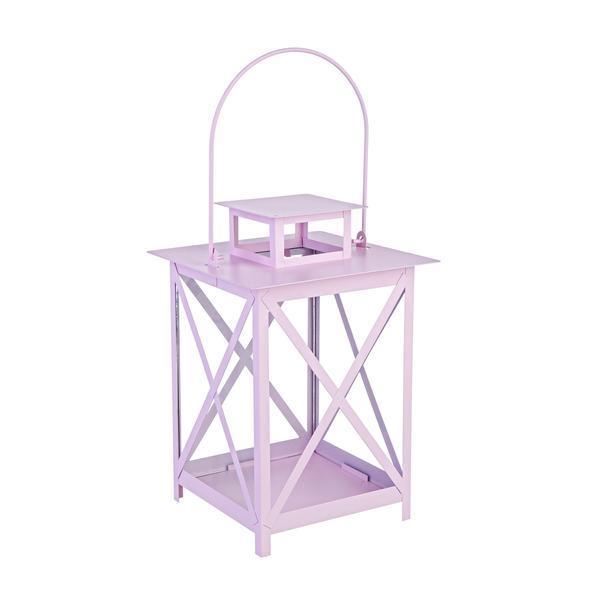 Felinar metal sticla roz Flaies diametru 17 cm x 25 h