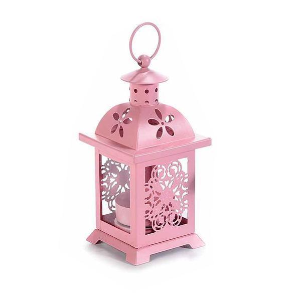 Felinar metal sticla roz cm 7 cm x 7 cm x 16 H
