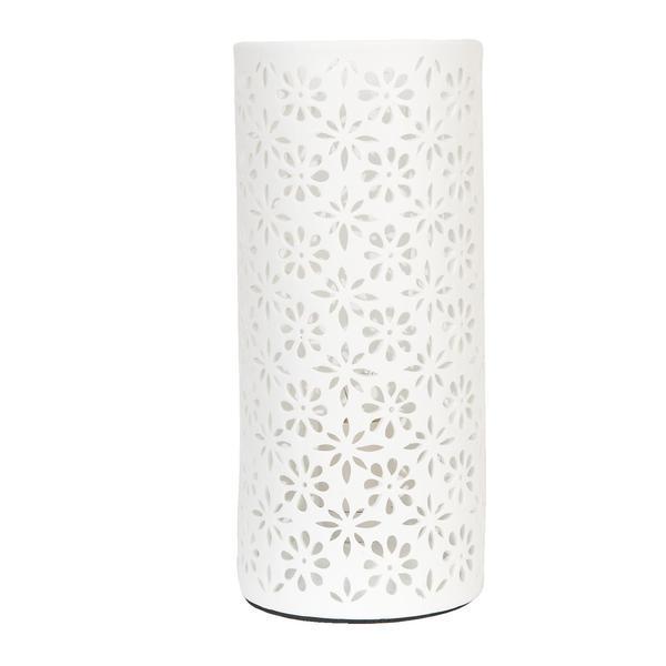 Veioza decorativa ceramica alba model Flori Ø12×28 cm E27