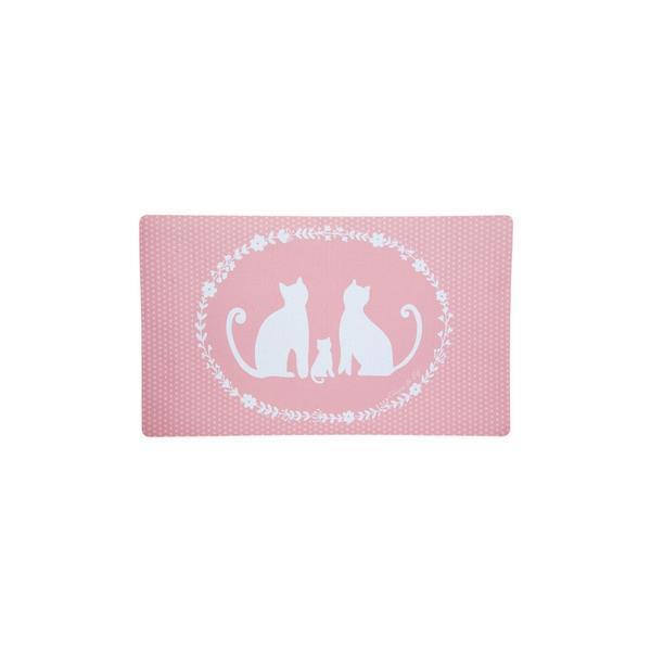 Covoras antiderapant textil cauciuc alb roz model Pisica 74 cm x 44 cm