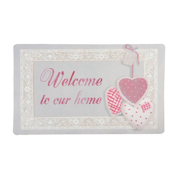 Covoras roz gri Welcome 74*44 cm