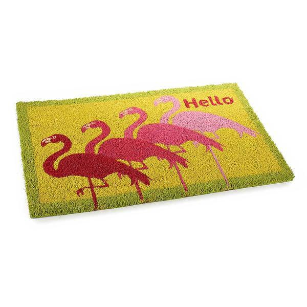 Covoras intrare casa antiderapant fibre cocos cauciuc Flamingo Hello 60 cm x 40 cm