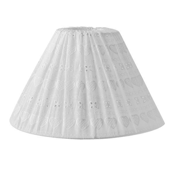 Abajur veioza textil alb brodat Ø30×18 cm