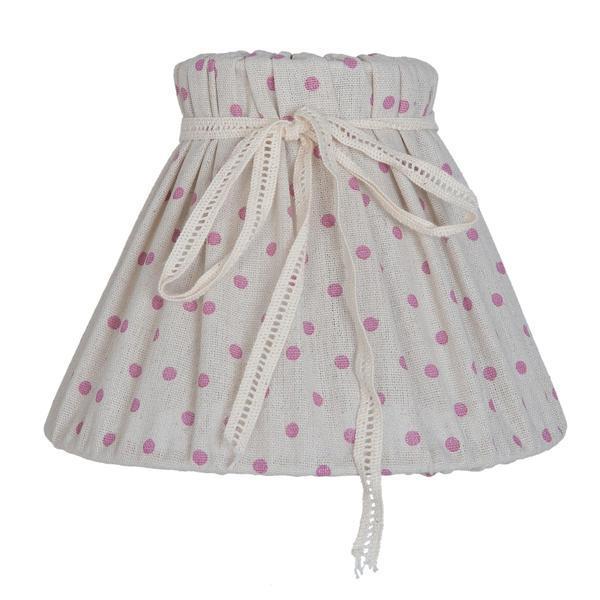 Abajur veioza textil crem cu buline roz Ø20×14 cm