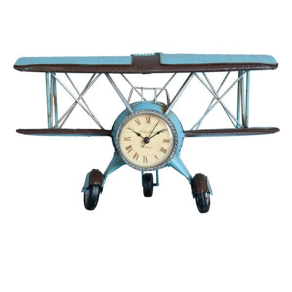 Ceas metal albastru de masa si perete model Avion 30 cm x 14 cm x 18 cm – Decorer