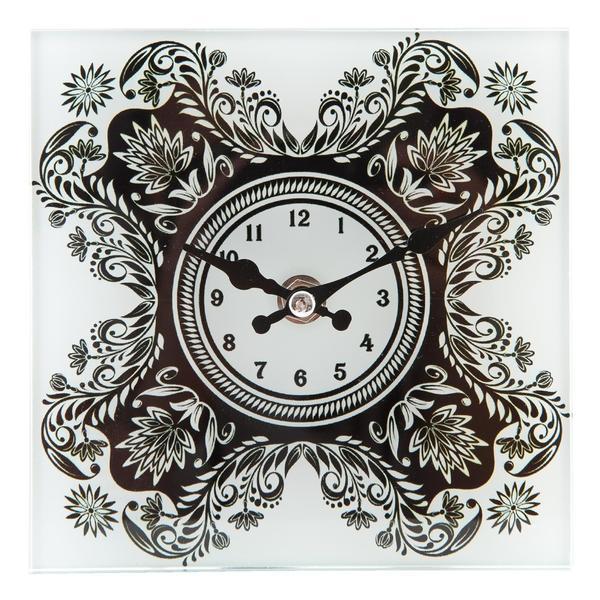 Ceas masa sticla Black White 15×15 cm – Decorer