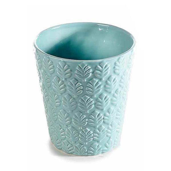 Ghiveci pentru flori ceramica albastru Diametru 13 cm x 14 H
