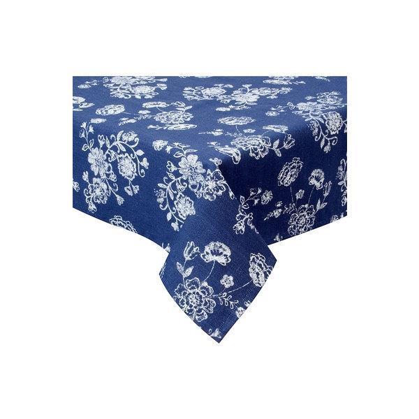 Fata de masa bumbac albastru alb Flowers 150 cm x 150 cm