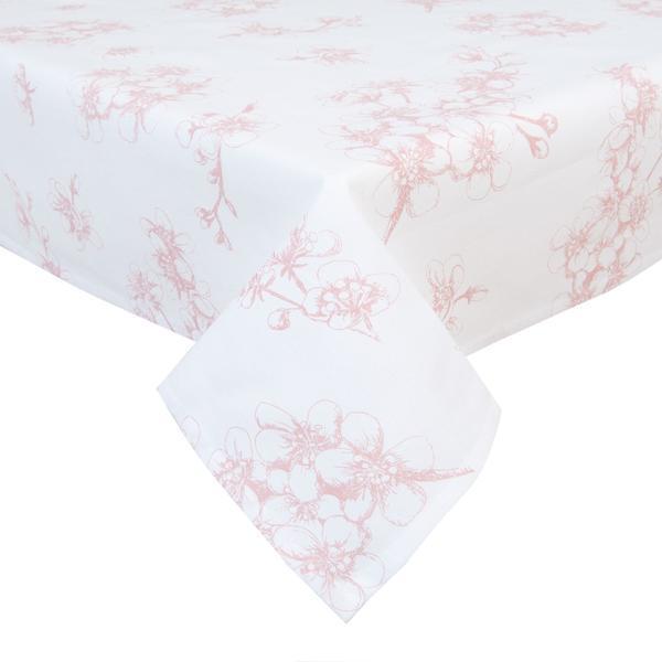 Fata de masa bumbac alb roz model flori de cires 100*100 cm