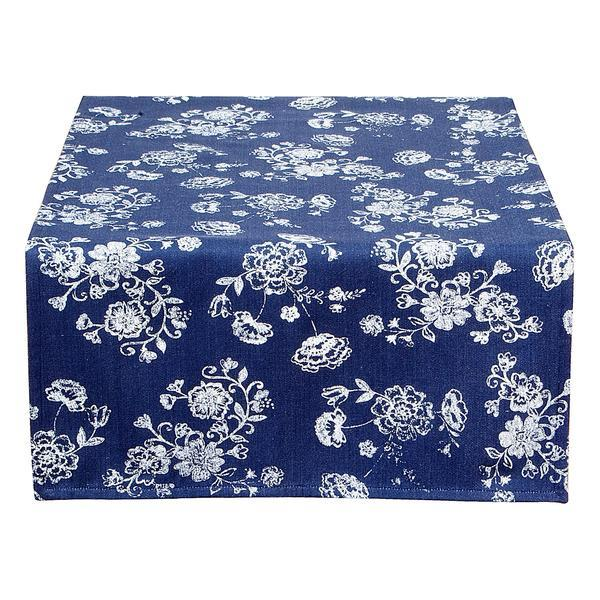 Fata de masa bumbac albastru alb Flowers 50*140 cm