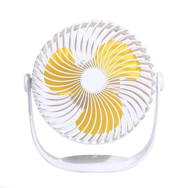 """Mini fan pentru birou, Cool air, 7"""", unghi reglabil, incarcare USB, baterie reincarcabila 2000mAh, alb galben"""