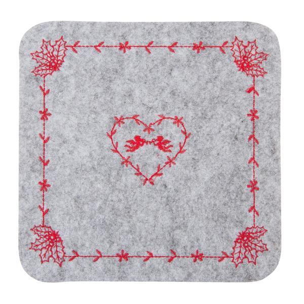 Suport textil farfurii gri rosu 25×25 cm