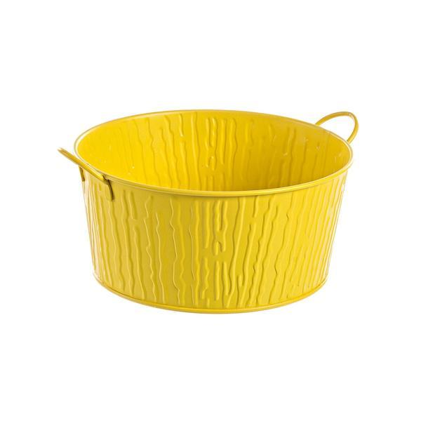 Ghiveci pentru flori metal galben Diametru 26 cm x 12 h