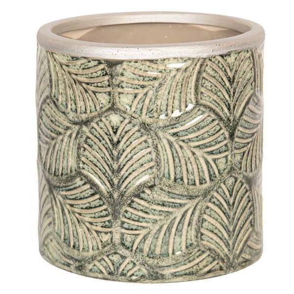 Ghiveci pentru flori ceramica verde Diametru 12 cm x 12 H