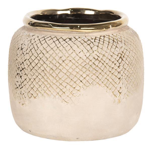 Vaza decorativa ceramica aurie Diametru 15 cm x 13 cm