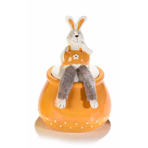 Borcan decorativ Paste model Iepuras ceramica portocaliu maro Diametru 12 cm x 18 H