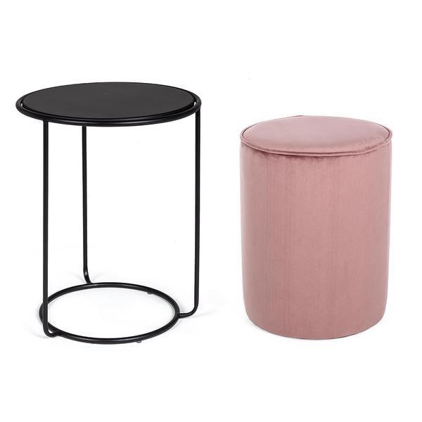 Masuta cafea si puf gri roz prafuit Annika