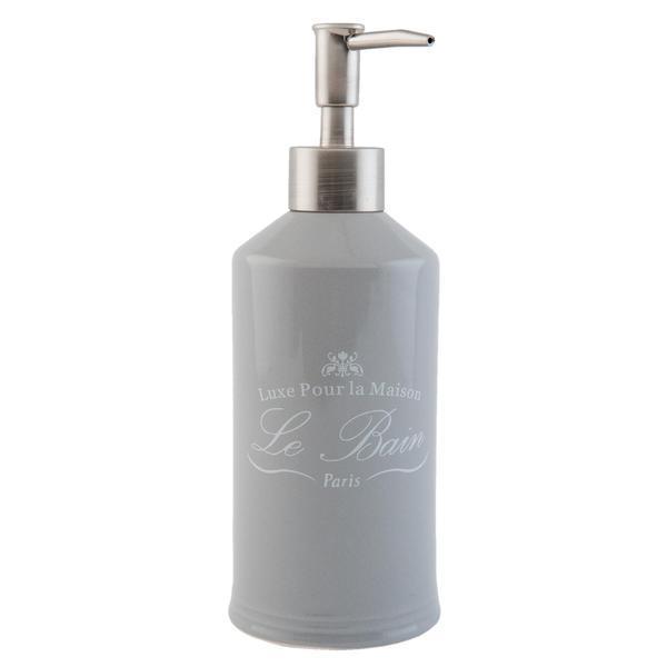 Dispenser ceramica gri pentru sapun Le Bain Diametru 7×20 cm 0,35 L