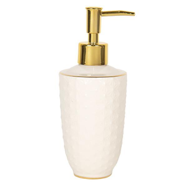 Dispenser ceramica alb auriu pentru sapun Diametru 7 cm x 19 cm