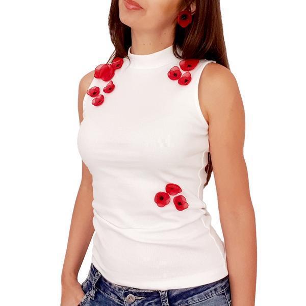 Top personalizat cu maci rosii 3D din voal, M, alb, Poppy Love, Zia Fashion