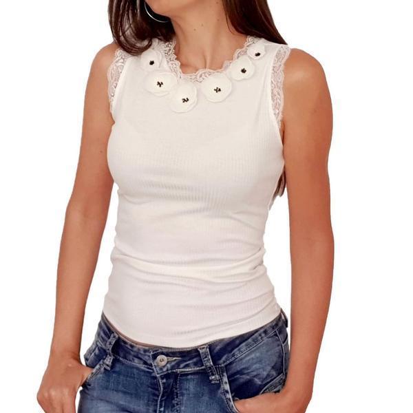 Top personalizat cu flori albe 3D din voal, S, alb, Flower Love, Zia Fashion