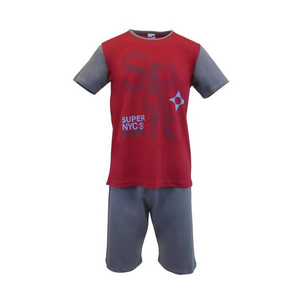 Pijama pentru barbat, Univers Fashion, bluza grena cu imprimeu 'SPORT', pantaloni scurti gri uni, S