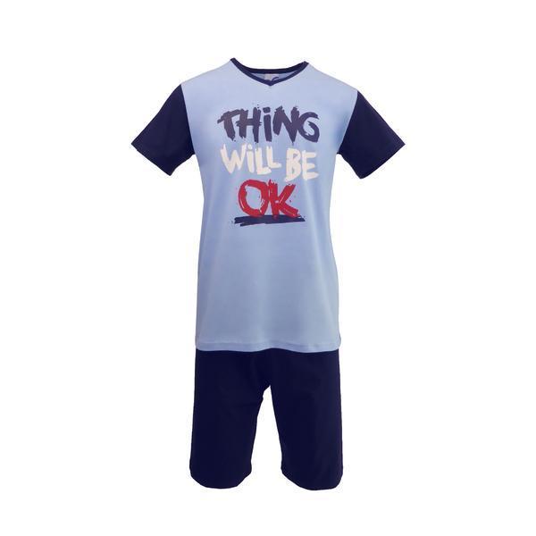 Pijama pentru barbat, Univers Fashion, bluza albastru deschis cu imprimeu 'Thing will be ok', pantaloni scurti albastru inchis uni, S