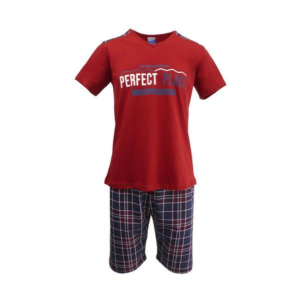 Pijama pentru barbat, Univers Fashion, bluza grena cu imprimeu 'Perfect Place', pantaloni scurti albastru inchis cu imprimeu carouri, S