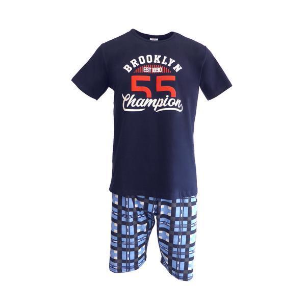 Pijama pentru barbat, Univers Fashion, bluza albastru inchis cu imprimeu 'Brooklyn Champion', pantaloni scurti albastru deschis cu imprimeu carouri, S