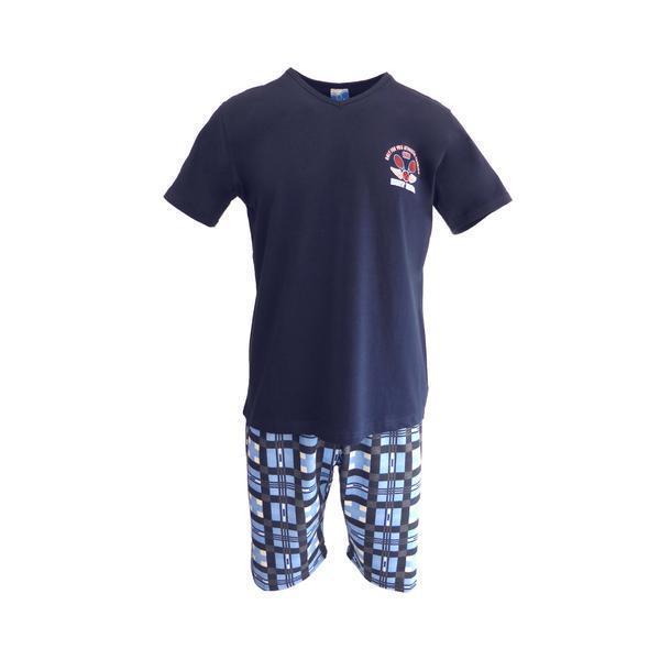 Pijama pentru barbat, Univers Fashion, bluza albastru inchis cu imprimeu 'dirt bike' pe piept, pantaloni scurti albastru deschis cu imprimeu carouri, S