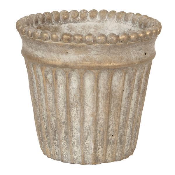 Ghiveci ceramica maro cu patina aurie Diametru 15 cm x 14 cm – Decorer