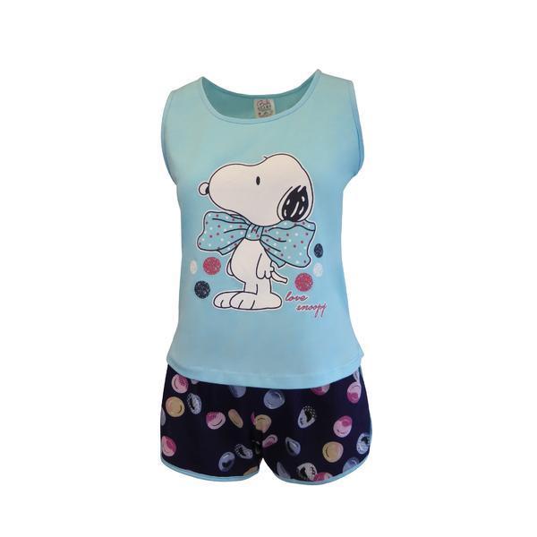 Pijama dama, Univers Fashion, maiou albastru deschis cu imprimeu snoopy, pantaloni scurti albastru inchis cu imprimeu buline, XL