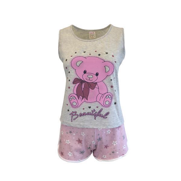 Pijama dama, Univers Fashion, maiou gri cu imprimeu ursulet, pantaloni scurti roz cu imprimeu stele, L