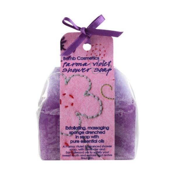 Sapun cu burete exfoliere si masaj Parma Violet Bomb Cosmetics 140 g imagine produs