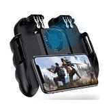 Gamepad telefon mobil Battlegrounds edition, 4 trigger metalic, power bank, ventilat, extensibil compatibil cu PUBG / Fortnite L1R1 L2R2 pentru iOS Android