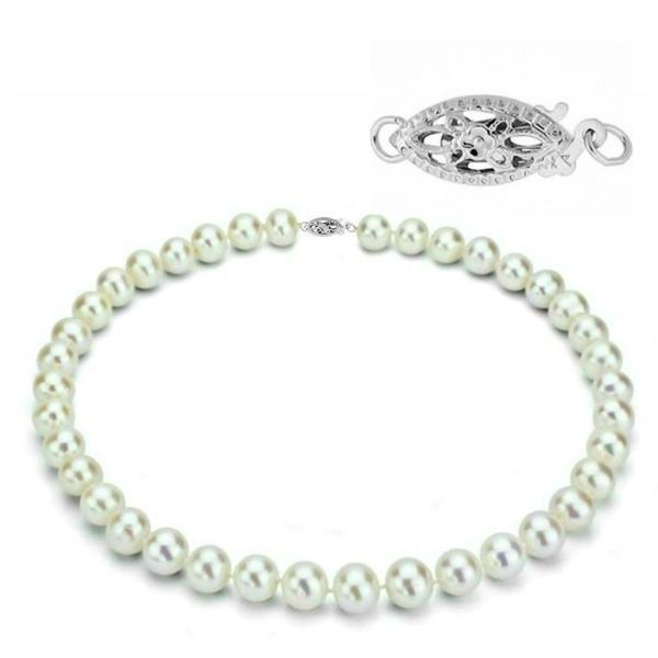 Colier Business Perle Naturale cu Inchizatoare Aur Alb Filigranata, 50 cm – Cadouri si perle
