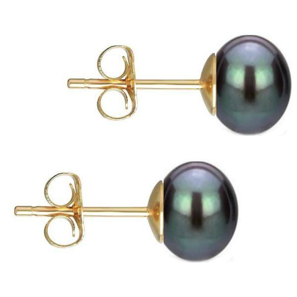 Cercei de aur cu perle naturale negre – Cadouri si perle