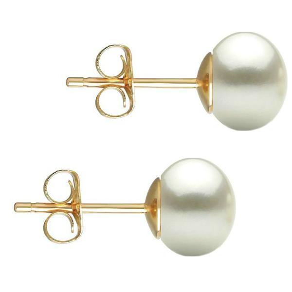 Cercei de aur cu perla naturala alba – Cadouri si perle