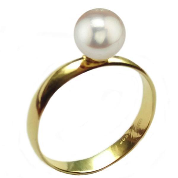 Inel din Aur cu Perla Naturala Akoya, 14 karate, 20.6 mm diametru – Cadouri si perle