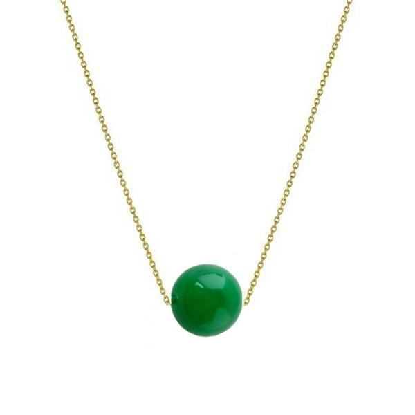 Colier Aur 14k cu Jad Natural Malaesian de 10 mm – Cadouri si perle