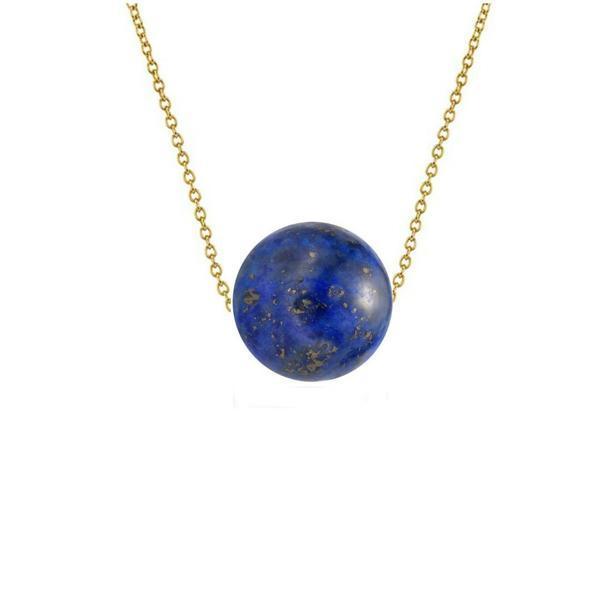 Colier Aur 14 karate cu Lapis Lazuli de 10 mm – Cadouri si perle