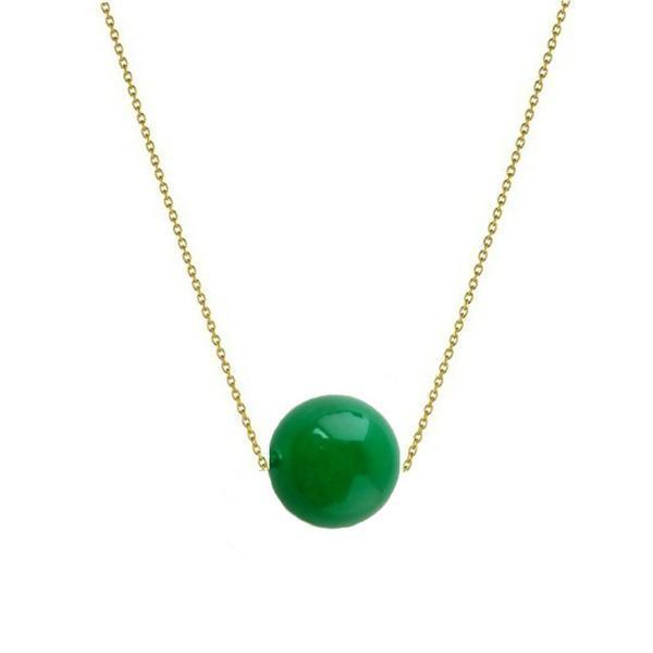 Colier Aur 14k cu Jad Natural Malaesian de 12 mm – Cadouri si perle