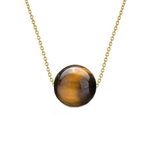 Colier Aur 14 karate cu Ochi de Tigru de 12 mm – Cadouri si perle