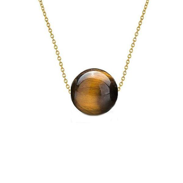 Colier Aur 14 karate cu Ochi de Tigru de 10 mm – Cadouri si perle