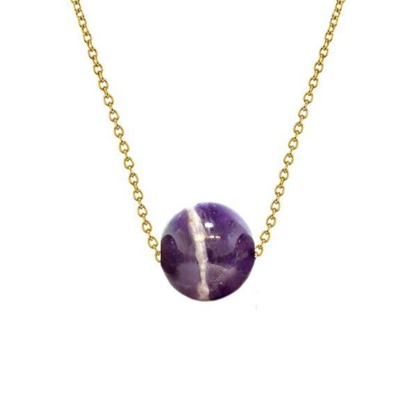 Colier Aur 14 karate cu Ametist de 8 mm – Cadouri si perle