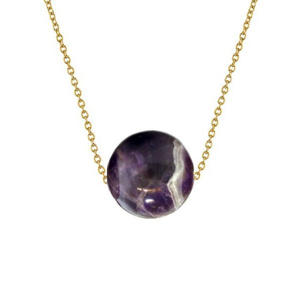 Colier Aur 14 karate cu Ametist de 10 mm – Cadouri si perle