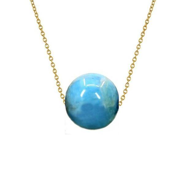 Colier Aur 14 karate cu Apatit de 10 mm – Cadouri si perle